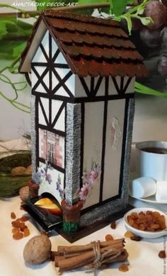 Чайный домик в стиле фахверк http://dcpg.ru/mclasses/1225/ Click on photo to see more! Нажмите на фото чтобы увидеть больше! decoupage art craft handmade home decor DIY do it yourself tutorial tea house acrylic paints pencil varnish