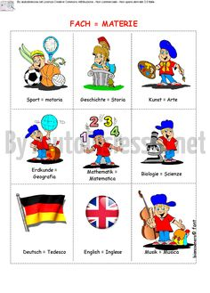 materie in tedesco - Fach German Language Learning, Learn German, Worksheets, Germany, Flashcard, English, Ads, Disney Characters, Languages