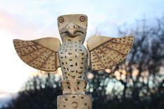 YUKON OWL TOTEM POLE WATSON LAKE YUKON ALASKA HIGHWAY. By Frank Tom. Detail of Owl Totem Pole:  Height 17 3/4 inches ( 45cm )  kevicpast on ebay.