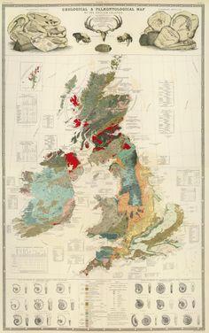 Geological paleontological map British Islands 1854