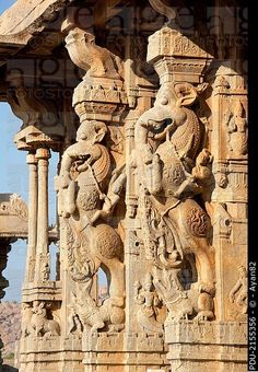 Pillars at the Vittala Temple depicting riders on the Yali, a mythical beast with head of a lion, tusks of an elephant and tail of a serpent. The Yali...