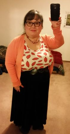 "office Valentines day outfit: thrifted orange cardigan, ewa 36KK bra, Ross belt, ASOS lips tank, ASOS midi skirt (which is a maxi on me), black knee highs, black crocs, DIY beaded & lampwork necklace, and make up from silknaturals.com. My curvy measurements 51""b-42""w-43.5""h & >5; I hope this helps myself & others contemplating style and plus sized apple inverted triangle fashion. 2-15"