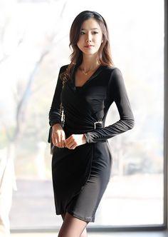 V-neck Women Autumn New Style Korean Style Slim Fashion Long Sleeve Black Cotton Dress S/M/L @WH0418b