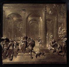 Lorenzo Ghiberti, Jacob and Esau 1452 Gilded bronze, 79 x 79 cm Baptistry, Florence Lorenzo Ghiberti, Sculpture Painting, Lion Sculpture, Florence Baptistery, Italian Sculptors, Renaissance Architecture, Italy Art, Italian Renaissance, Italian Artist