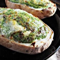 Twice-baked Broccoli-and-kale-stuffed Potatoes from #greatist #selfmagazine