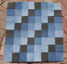 Scrap Blocks Blue Jean Quilt Top