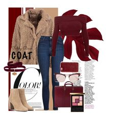 """""""Teddy x Bear-gundy"""" by constellationz ❤ liked on Polyvore featuring Boohoo, Topshop, Gucci, Diego Percossi Papi, Missguided, Le Specs and Yves Saint Laurent"""