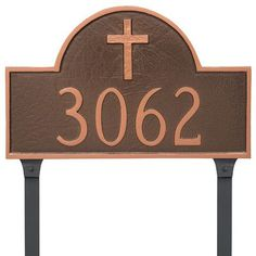 Montague Metal Products Classic Arch with Rugged Cross Address Plaque Finish: Gray/Silver