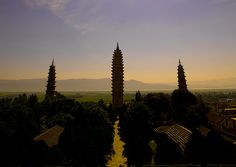 The Three Pagodas Of San Ta Si Monastery In Dali, Yunnan Province, China by Eric Lafforgue, via Flickr