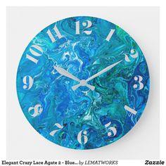 Elegant Crazy Lace Agate 2 - Blue Aqua Large Clock