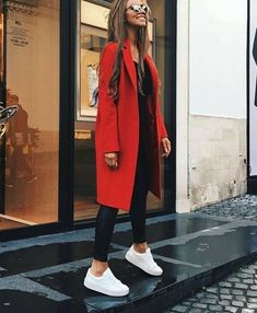 Red coat, black leather leggings, white sneakers. Street style, street fashion, best street style, OOTD, OOTD Inspo, street style stalking, outfit ideas, what to wear now, Fashion Bloggers, Style, Seasonal Style, Outfit Inspiration, Trends, Looks, Outfits.