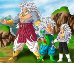 SSJ 5 Trio: Broly, Goku, and Vegeta