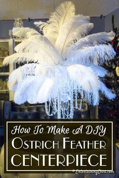 How To Make Gorgeous DIY Ostrich Feather Centerpieces (+ 7 variations) - Mardi Gras Ostrich Feather Centerpieces, Mardi Gras Centerpieces, Wedding Centerpieces, Graduation Centerpiece, Quinceanera Centerpieces, Quinceanera Ideas, Candle Centerpieces, Roaring 20s Party, Gatsby Themed Party