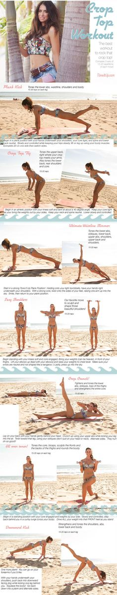 Tone It Up: The Crop Top Workout Routine – I will not be wearing any crop tops, but this is still a good workout. Tone It Up: The Crop Top Workout Routine – I will not be wearing any crop tops, but this is still a good workout. Training Fitness, Fitness Diet, Health Fitness, Fitness Plan, Sport Motivation, Fitness Motivation, Exercise Motivation, Fitness Quotes, Summer Body