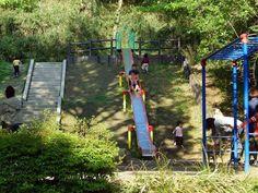 森の中に大きな滑り台がある児童遊園地の遊具広場小さいお子さんとパパママがいっぱいで大にぎわいです走ったり登ったり滑り下りたり歓声をあげたり子ども達が自由に思いっきり遊ぶ様子が微笑ましく楽しいです