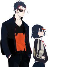 Ryuko and Senketsu in his human form from Kill la Kill. I love how he's just like, hey, 'sup.