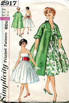 Sewing Patterns Vintage Out of Print Retro,Over 7000 ,Vogue Simplicity McCall's - Simplicity 2917 Retro 1950's Dress Coat Ensemble Cocktail
