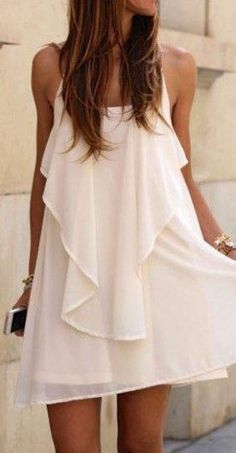 White Chain Spaghetti Strap Dress