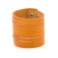 Orange 58 mm cut leather wristband bracelet by 81stgeneration 81stgeneration. $15.98. .