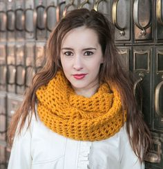 Pure Wool Infinity Scarf in Mustard  THE MILLIE by MercierMarche