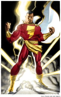captain marvel shazam by chris stevens and john saberre Original Captain Marvel, Captain Marvel Shazam, Shazam Comic, Aquaman, Marvel Dc Comics, Marvel Art, Batman E Superman, Spiderman, Dc Trinity