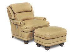 Pub back leather tilt back chair with matching ottoman