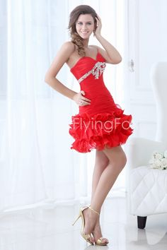 fancyflyingfox.com Offers High Quality Sweetheart Red Short Puffy Corset Cocktail Dresses,Priced At Only US$148.00 (Free Shipping)