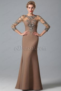 eDressit Sleeves Lace Applique Mother of the Bride Gown (26150820)