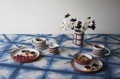 Linen Shibori tablecloth by Bramble Workshop