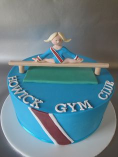This was a cake I made as a fundraiser, which was raffled off at my daughters annual Gymnastics Competition today. Pretty Cakes, Cute Cakes, Beautiful Cakes, Amazing Cakes, Gymnastics Cakes, Gymnastics Birthday, Gym Cake, Sport Cakes, Birthday Cake Girls