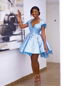 Lace Dress Styles, African Lace Dresses, Short Lace Dress, African Dresses For Women, African Fashion Dresses, African Blouses, Short Gowns, African Attire, Blue Ball Dresses