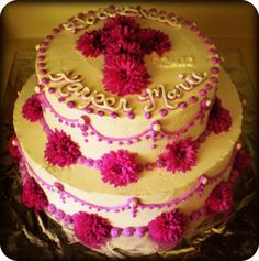 Purple Mum Baptism Cake