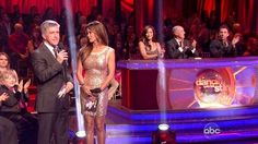 Brooke Burke wearing Rachel Gilbert's Willamina  dress in gold on Dancing With The Stars this season. This episode aired on November 20, 2012. Brooke looks gorgeous in the dress!
