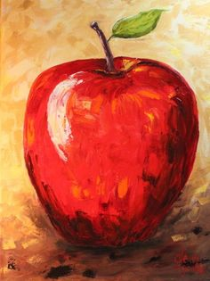 Apple                 18 x 24        Oil On Canvas Now thats a creative name! :)             No frame needed.  (Check out the Pear that looks great with it.) #OilPaintingFood