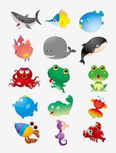 Desenhos animados animais marinhos material vector