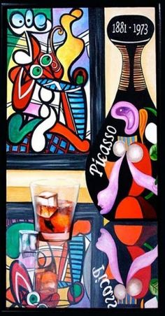 Wine Painting, Wine Art, Picasso Wine Label by k Madison Moore -- k