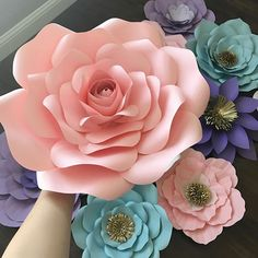 """Medium """"Arabella"""" template with a """"small rose"""" template used as a center :) tutorial posted previously. #tutorials #handmade #diy #paperflowerbackdrop #paperflowers"""