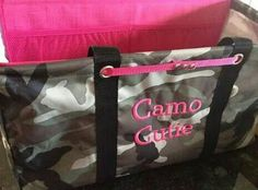 Large Utility Tote in camo with pink personalization,  mythirtyone.com/ginadevane