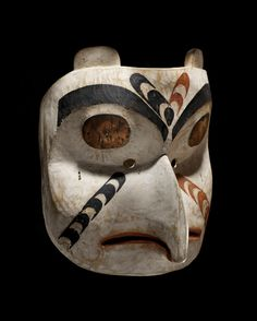 Gitxsan (First Nations) Owl mask, ca Skeena River, British Columbia,Canada. Native American Masks, American Indians, Art Inuit, Owl Mask, Folk, Art Premier, Tlingit, Arte Popular, Indigenous Art