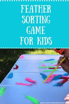 """Practice color recognition and breath control with this fun feather game inspired by """"Perfectly Norman"""" Fun Activities For Kids, Sensory Activities, Learning Activities, Games For Kids, Kinesthetic Learning, Thanksgiving Activities, Color Activities, Classroom Activities, Family Activities"""