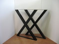 X Style Metal Table Legs - Handcrafted Patinated Steel with Leveling Feet