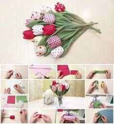 Aprende como hacer tulipanes de tela