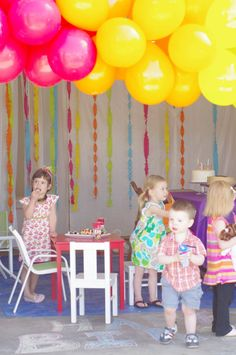 pink and yellow party #pink #yellow #kids #party rainbow theme, birthday parties, birthdays, birthday idea, rainbow birthday, balloons, kid parties, parti idea, birthday decor