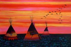 Linus Woods paintings | Bearclaw Gallery Edmonton - LAKOTA SUNSET