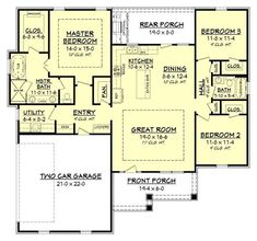 The open floor plan layout allows the kitchen and dining area to be just steps away and gives the home an even bigger feel and great home traffic. #houseplan #openfloorplan