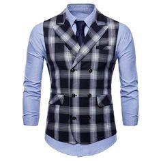 12dddd504e12 Men Vest Red Plaid Vest Single Breasted V-neck Collar Casual Style Slim Fit  Wedding Party Wear Vest Men