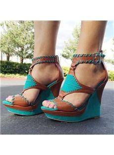 Comfortable Wedge Heel Leopard Grain Ankle Strap High Heel Sandals