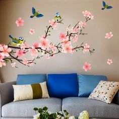 Get decorative wall painting ideas and creative design tips to colour your interior home walls Wall Art Designs, Wall Design, Room Wall Painting, Pink Christmas Decorations, Wall Decor, Room Decor, Floral Wall, Tree Wall, Bedroom Wall