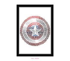 PERSONALISED Captain America Shield Word Art Print Gift Idea