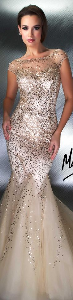 Mac Duggal couture dress nude COUTURE DRESSES  STYLE 1250D
